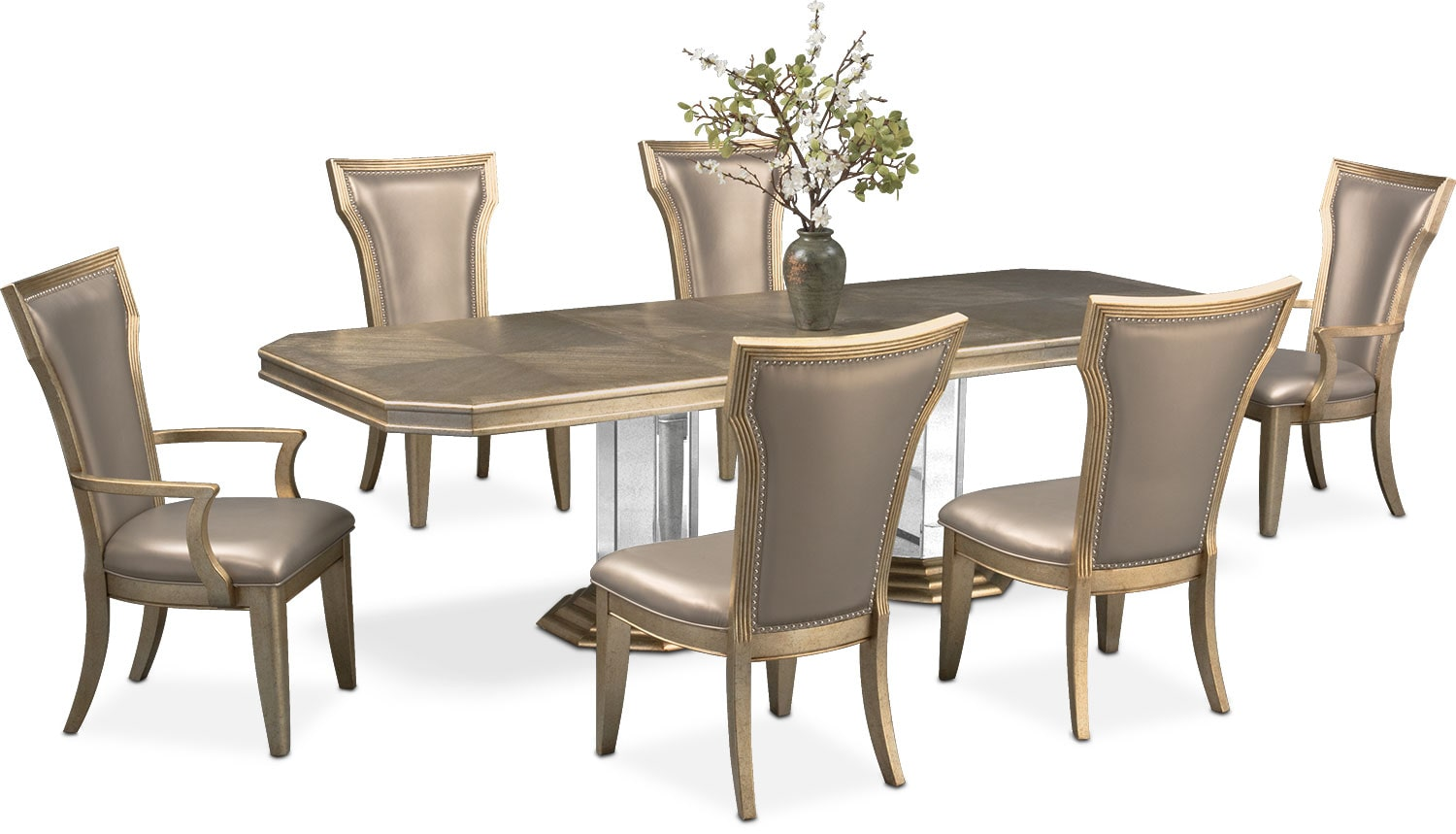 Angelina Double Pedestal Table, Two Arm Chairs And 4 Side Chairs   Metallic