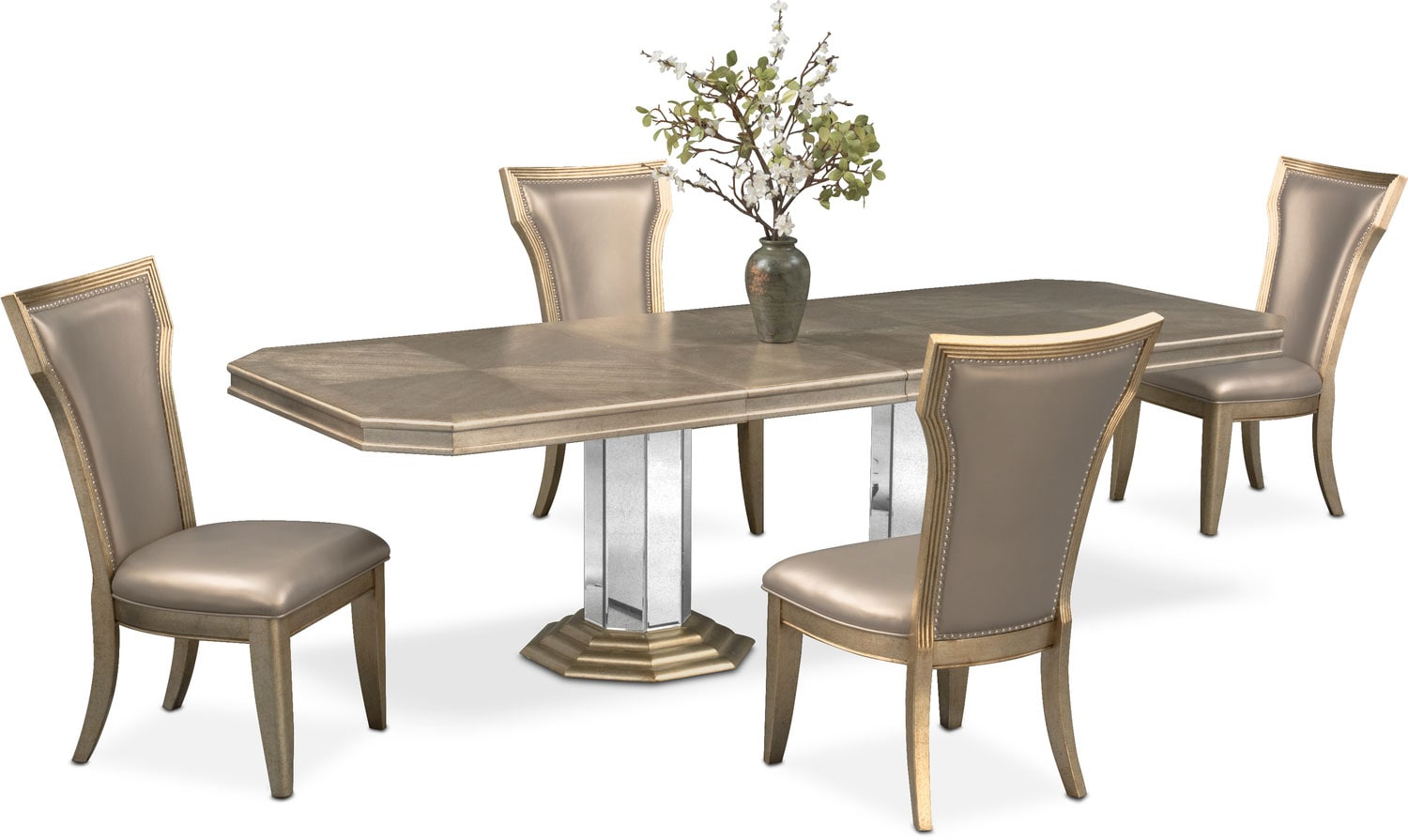 Angela Double-Pedestal Table and 4 Side Chairs - Metallic