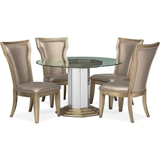 Angelina Round Table and 4 Dining Chairs