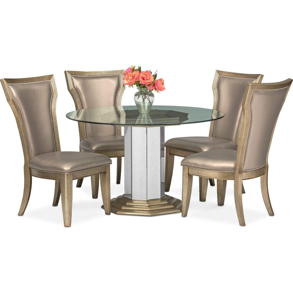 00347895cb0b Angelina Round Table and 4 Side Chairs - Metallic | American ...