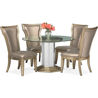 Angelina Round Table and 4 Side Chairs - Metallic