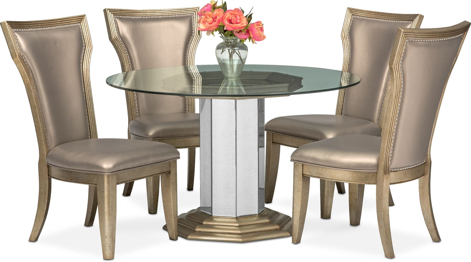 Elegant Angelina Round Table And 4 Side Chairs   Metallic Part 21