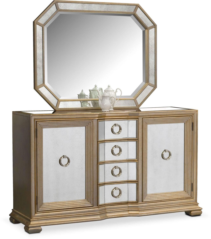 Dining Room Furniture - Angelina Sideboard with Mirror - Metallic