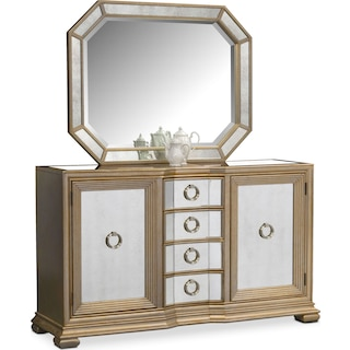 Angelina Sideboard with Mirror - Metallic