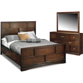 Toronto 5-Piece Queen Storage Bedroom Set with Dresser and Mirror - Pecan