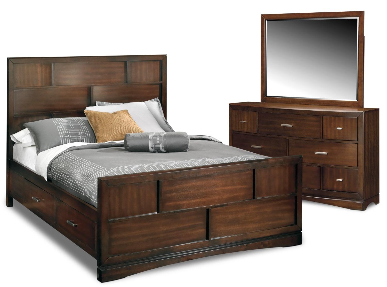 $799.98 Toronto 5 Piece Queen Storage Bedroom Set   Pecan By Najarian