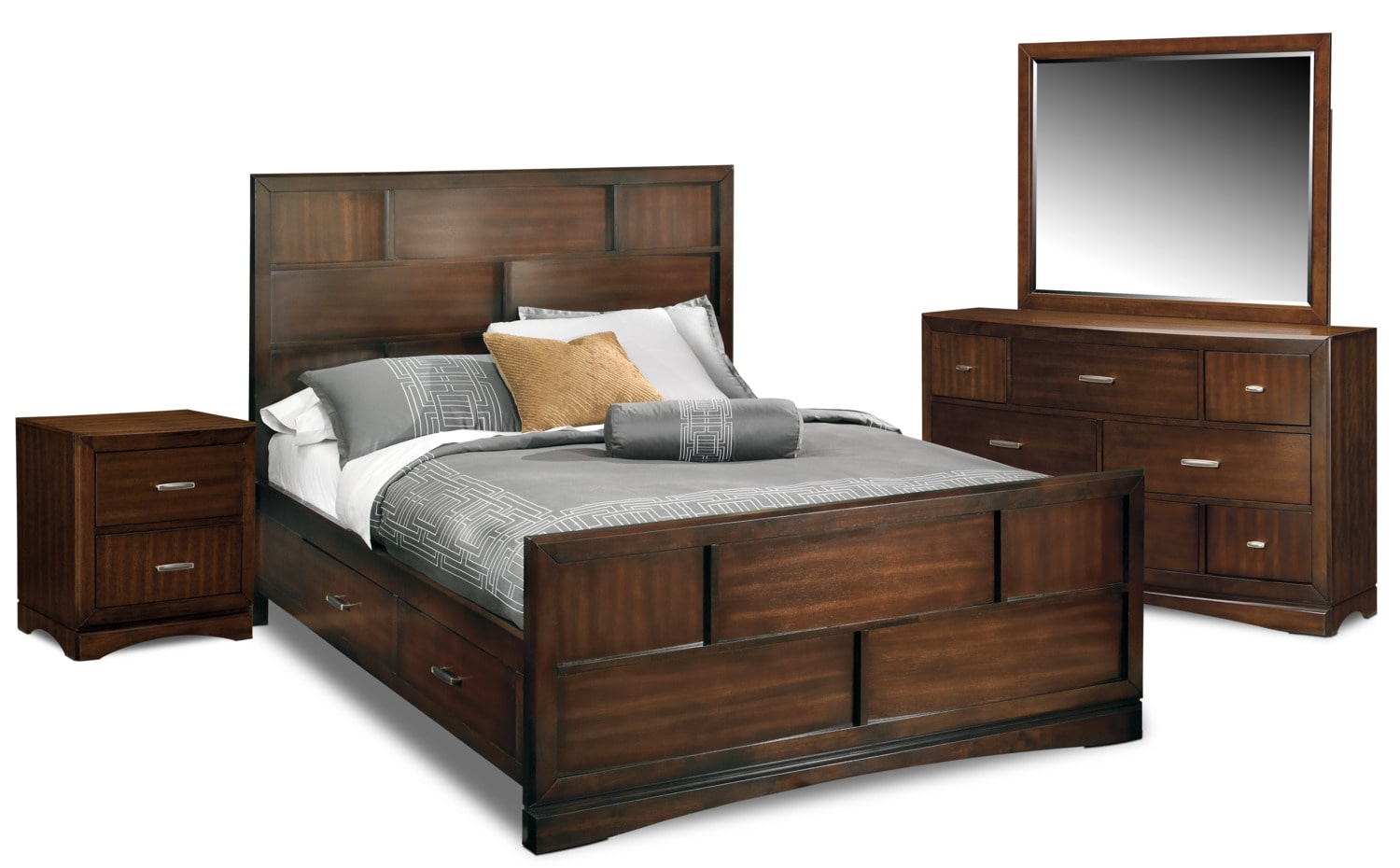 Toronto 6 piece queen storage bedroom set pecan for Bedroom furniture packages