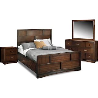 Toronto 6-Piece Queen Storage Bedroom Set with Nightstand, Dresser and Mirror - Pecan