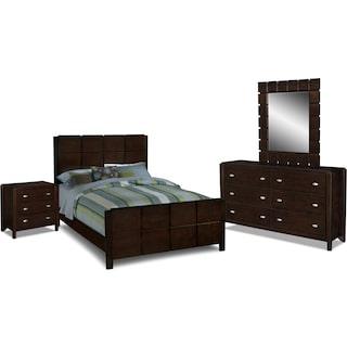 Mosaic 6-Piece Queen Bedroom Set with Nightstand, Dresser and Mirror - Dark Brown