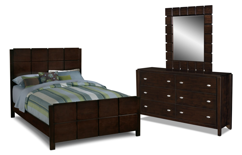 Mosaic 5 piece queen bedroom set dark brown american for Bedroom furniture packages