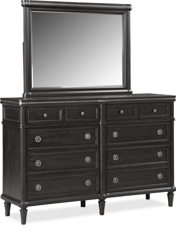 Bedroom Furniture - Berwick Dresser and Mirror - Charcoal