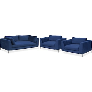 Aaron Sofa and Two Cuddler Chairs Set - Indigo