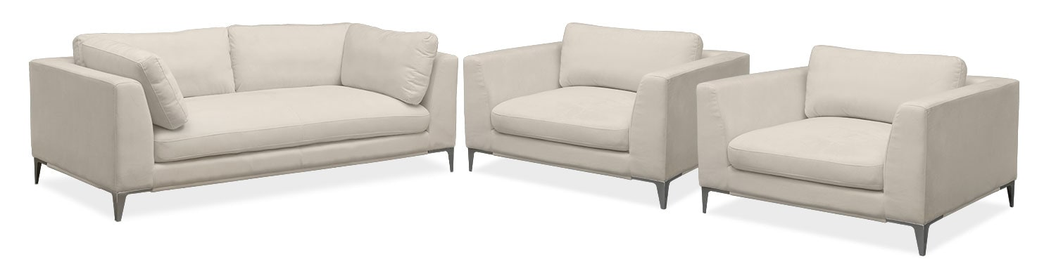 Aaron Sofa and Two Cuddler Chairs Set - Ivory