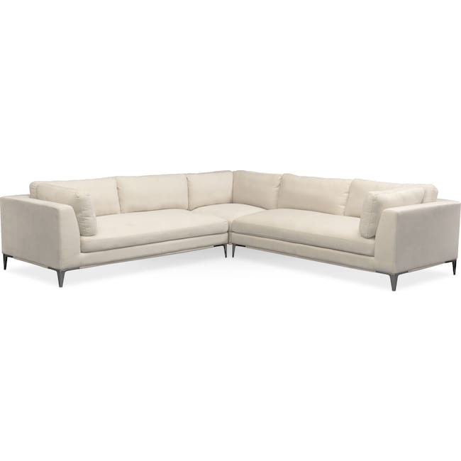 Living Room Furniture - Aaron 3-Piece Sectional - Ivory