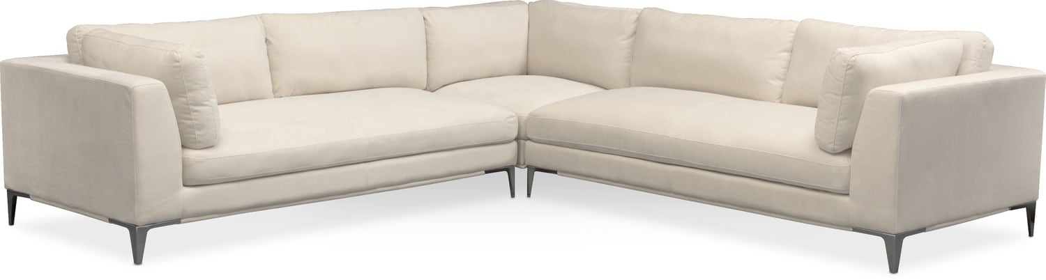Living Room Furniture   Aaron 3 Piece Sectional   Ivory Part 83