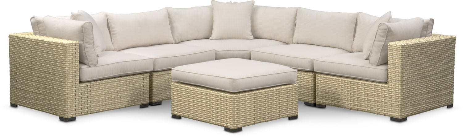 Regatta 5-Piece Outdoor Sectional with Wedge and Ottoman Set - Cream