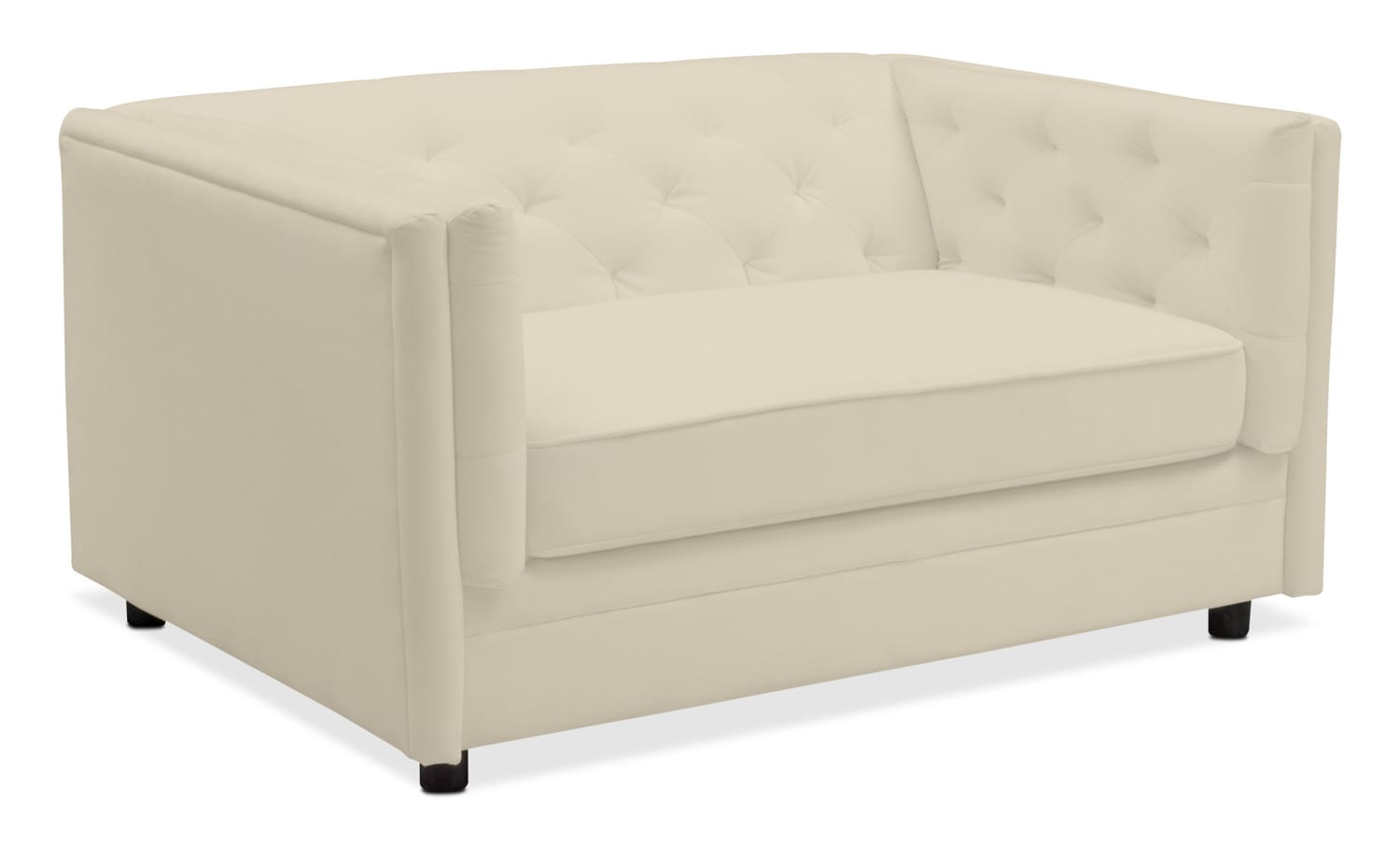 Living Room Furniture   Gabe Cuddler Chair   Ivory