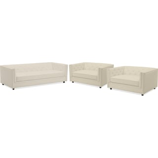 Gabe Sofa and Two Cuddler Chairs Set - Ivory