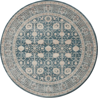 Ella Rose 9' Round Area Rug - Dark Blue