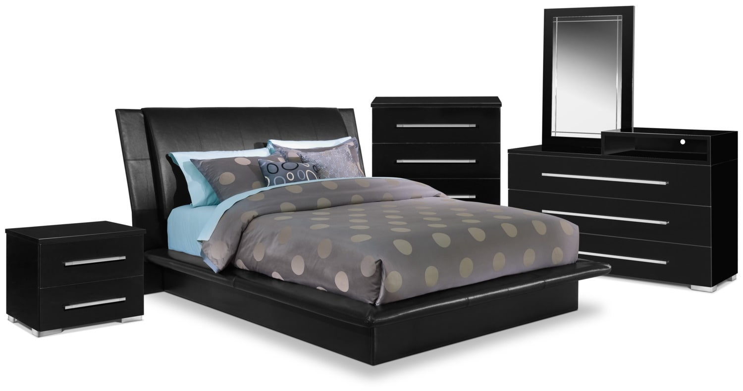 Bedroom Furniture   Dimora 7 Piece Queen Upholstered Bedroom Set With Media  Dresser   Black