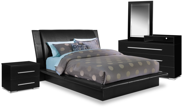 Dimora 6 Piece Queen Upholstered Bedroom Set With Media Dresser Black American Signature