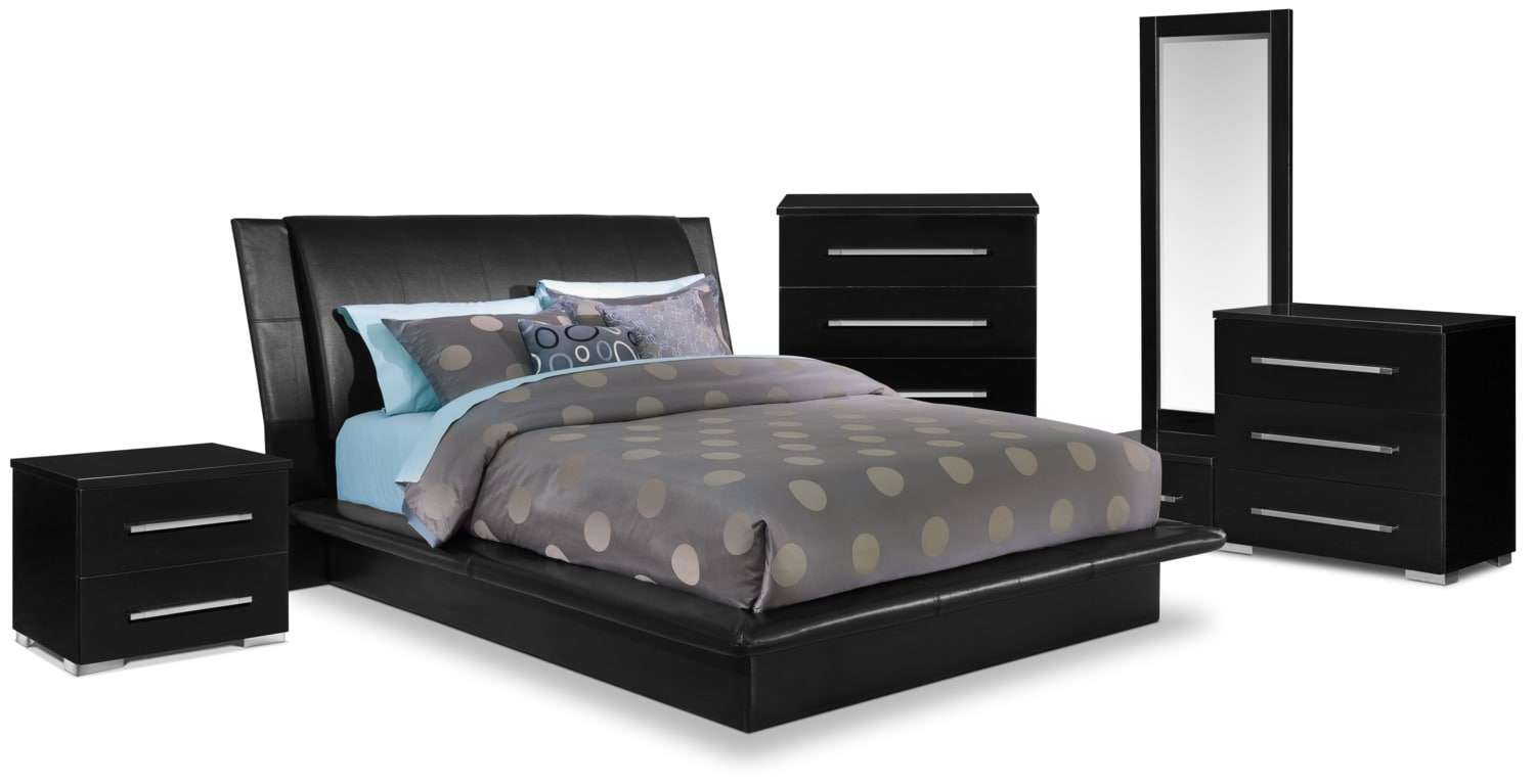 Bedroom Furniture - Dimora 7-Piece King Upholstered Bedroom Set - Black