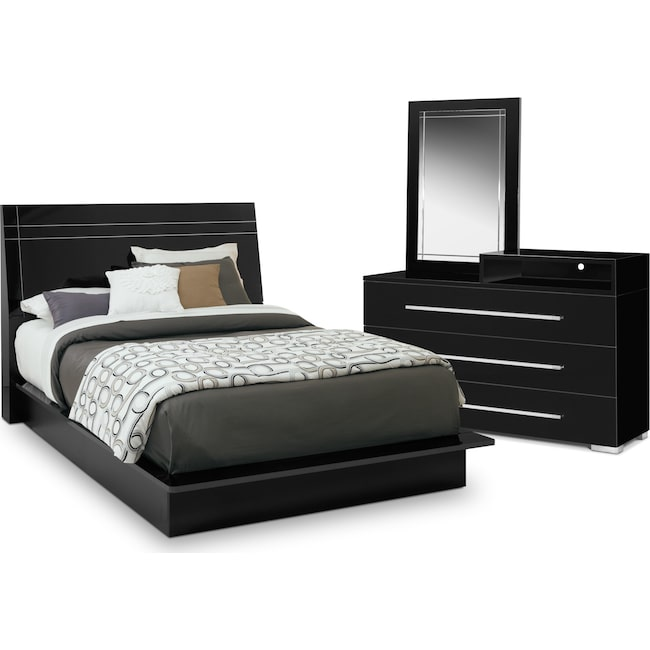 Bedroom Furniture - Dimora 5-Piece King Panel Bedroom Set with Media Dresser - Black
