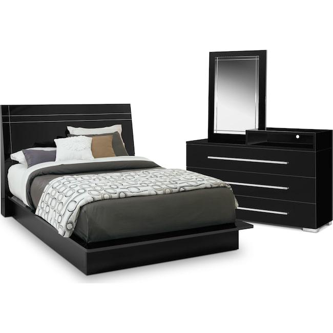 Bedroom Furniture - Dimora 5-Piece Queen Panel Bedroom Set with Media Dresser - Black