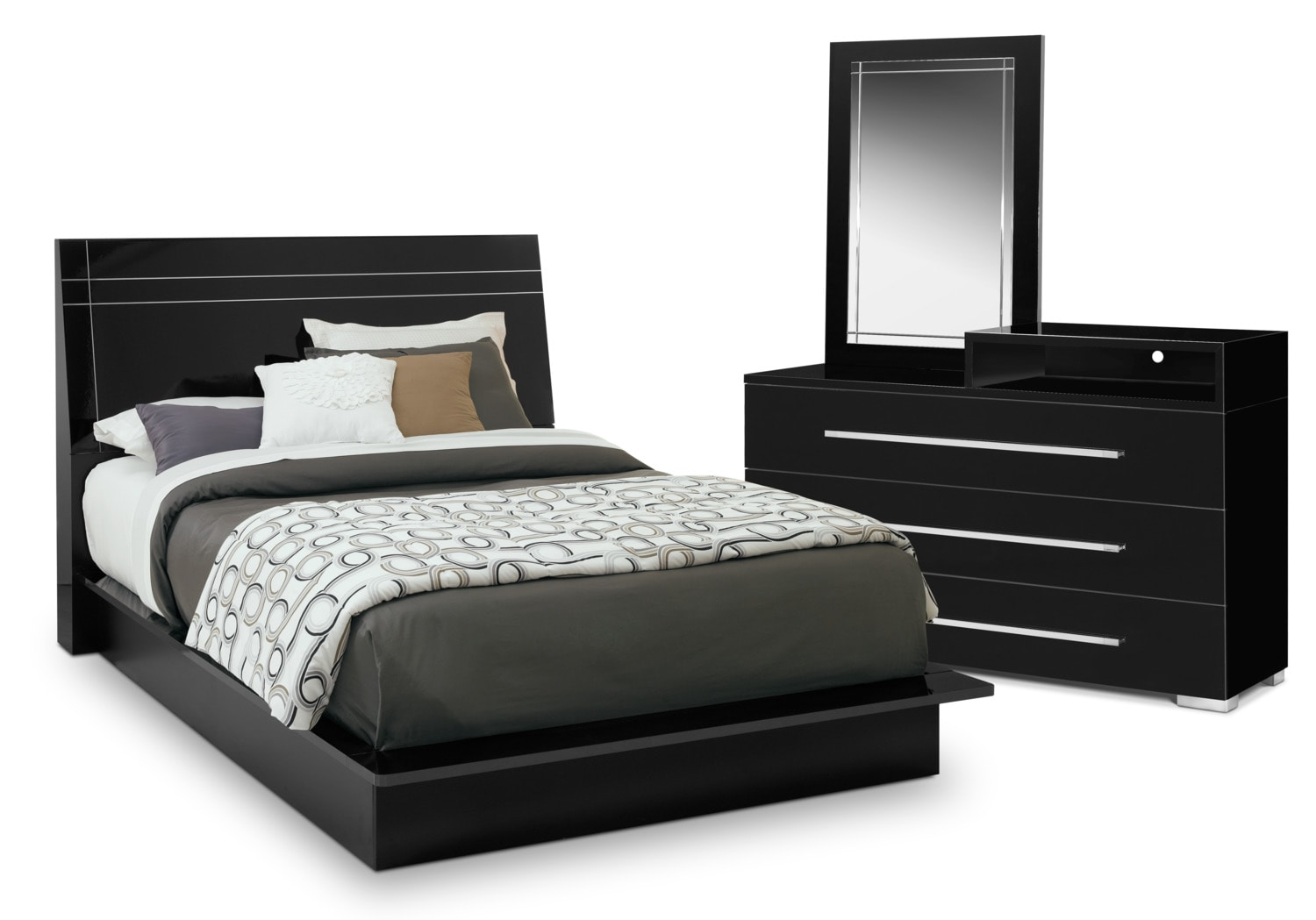 Dimora 5 Piece Queen Panel Bedroom Set With Media Dresser   Black