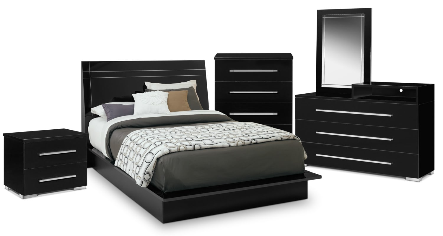 Dimora 7 Piece Queen Panel Bedroom Set With Media Dresser   Black