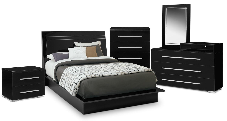Bedroom Furniture - Dimora 7-Piece King Panel Bedroom with Media Dresser - Black
