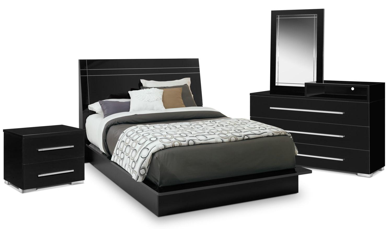 Bedroom Furniture - Dimora 6-Piece King Panel Bedroom Set with Media Dresser - Black