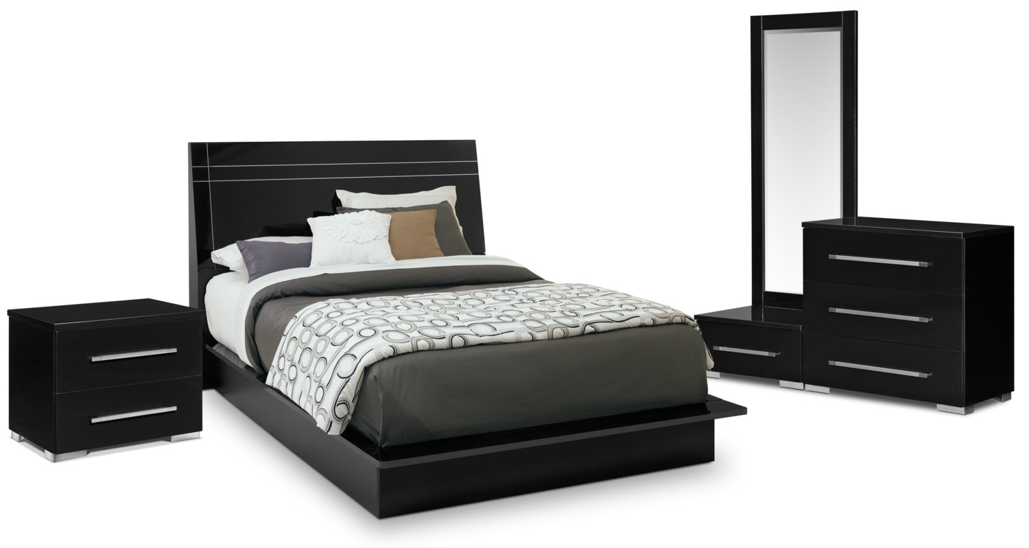Dimora 6-Piece Queen Panel Bedroom Set - Black | American Signature ...