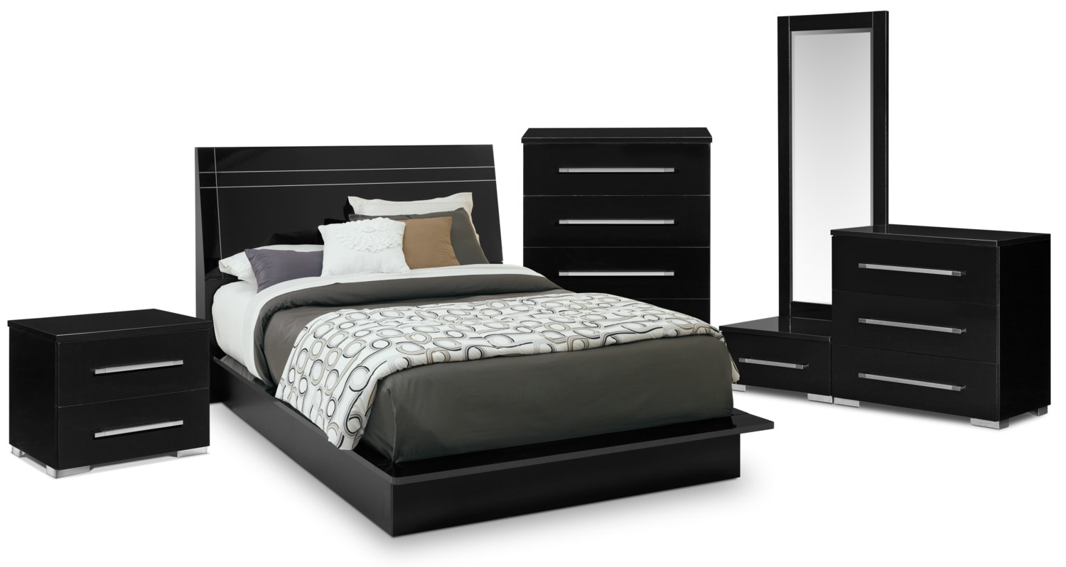 Dimora 7 piece queen panel bedroom set black american - Black queen bedroom furniture set ...