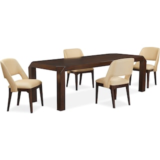 Savoy Rectangular Table and 4 Side Chairs - Merlot