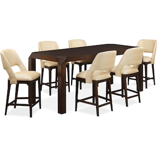 Savoy Counter-Height Table and 6 Upholstered Stools - Merlot