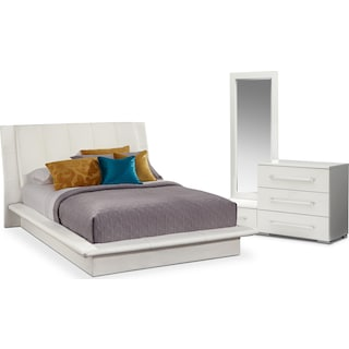 Dimora 5-Piece Queen Upholstered Bedroom Set - White