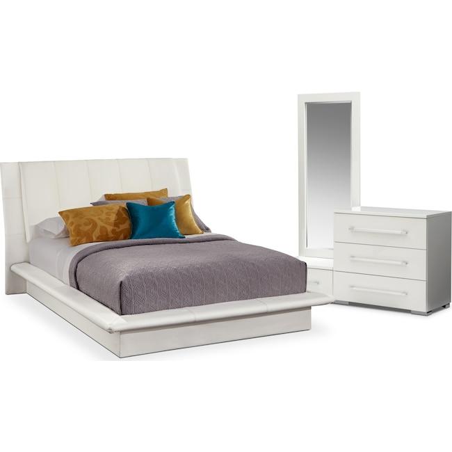 Bedroom Furniture - Dimora 5-Piece Queen Upholstered Bedroom Set - White