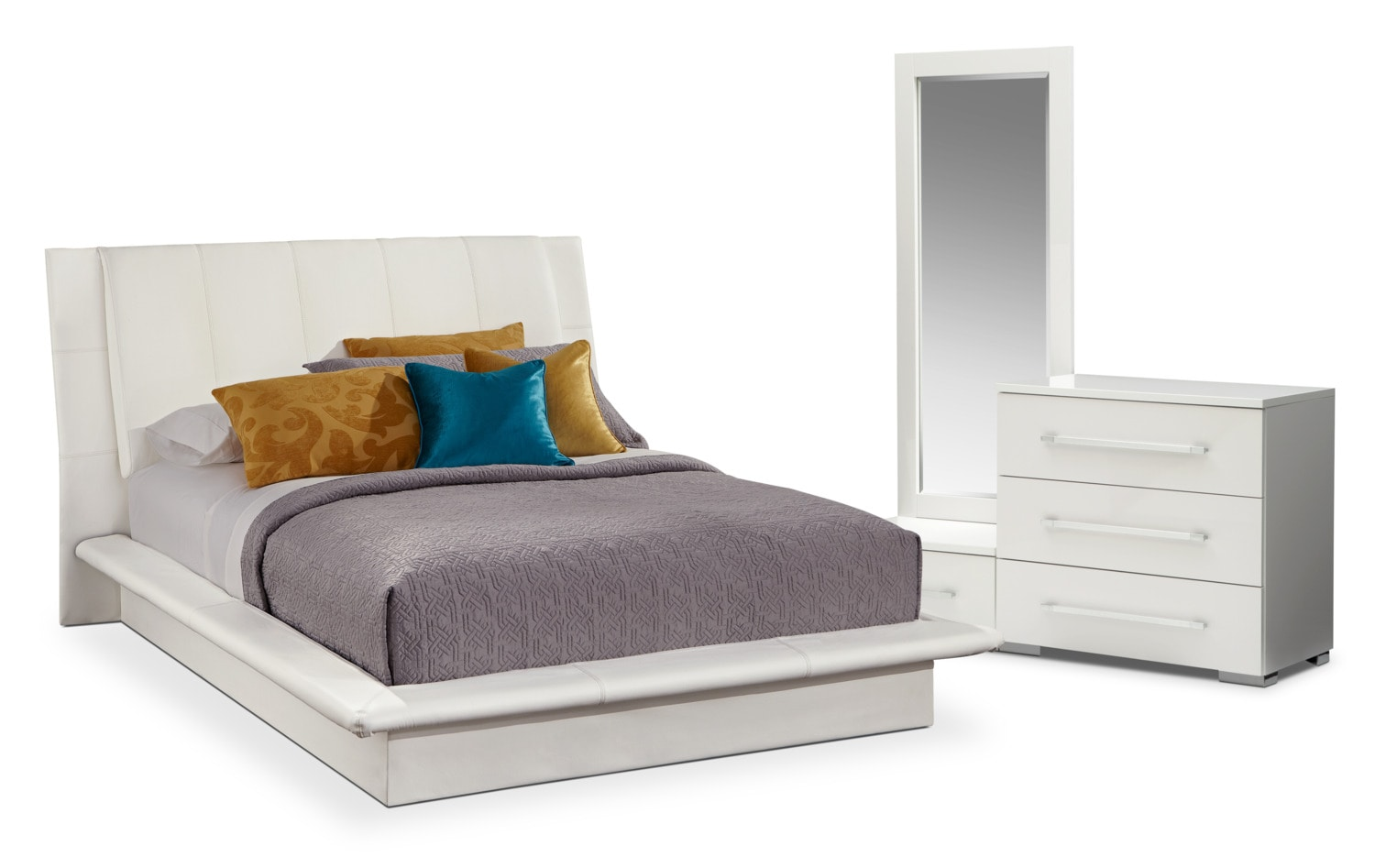 Delightful Was $699.98 Today $559.98 Dimora 5 Piece Queen Upholstered Bedroom Set    White By Factory Outlet