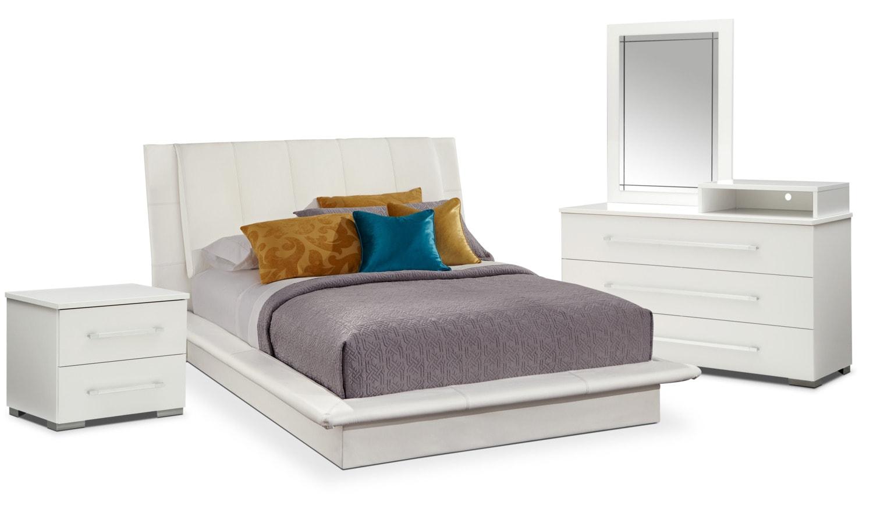 Bedroom Furniture - Dimora 6-Piece King Upholstered Bedroom Set with Media Dresser - White