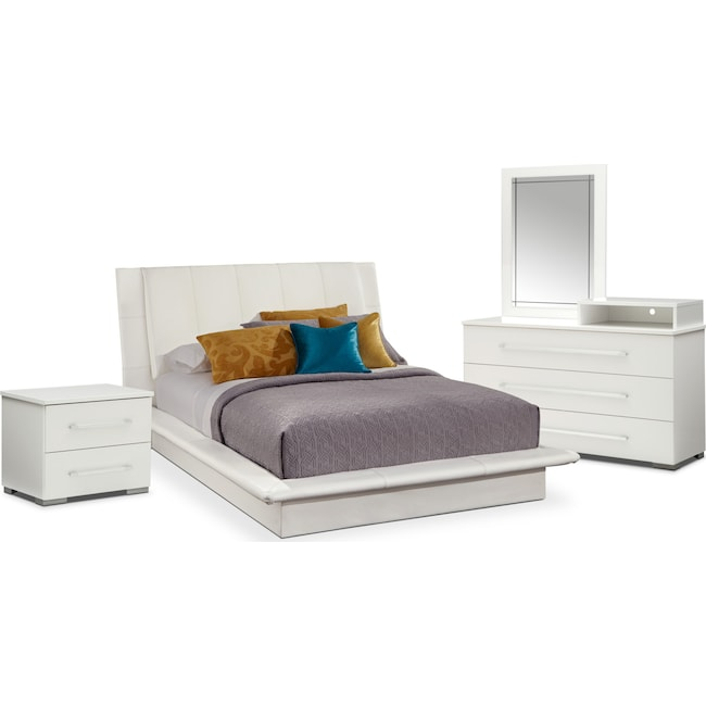 Bedroom Furniture - Dimora 6-Piece Queen Upholstered Bedroom Set with Media Dresser - White