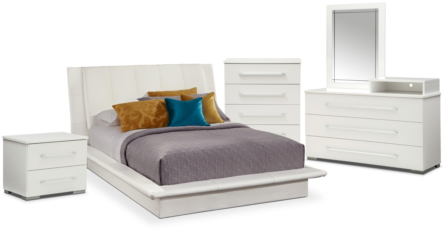 Dimora 7-Piece Queen Upholstered Bedroom Set with Media Dresser - White