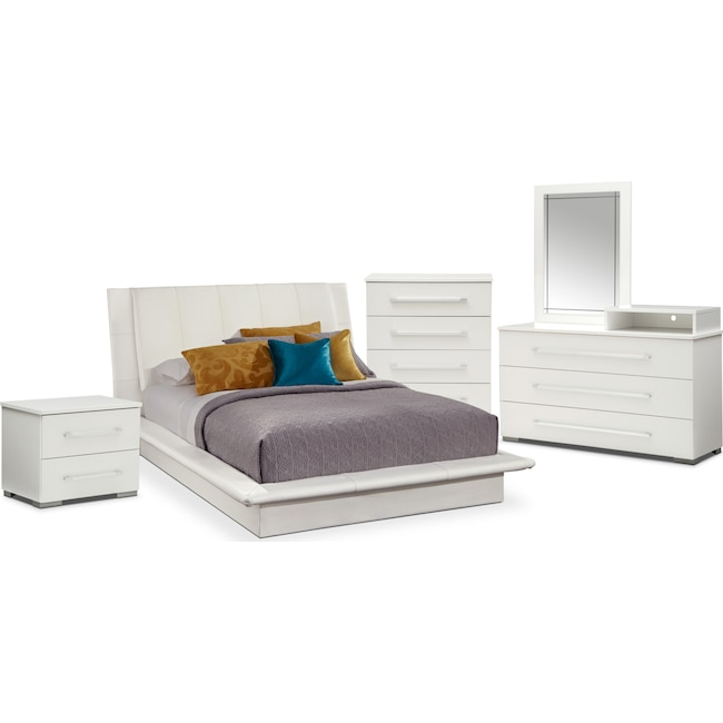 Bedroom Furniture - Dimora 7-Piece Queen Upholstered Bedroom Set with Media Dresser - White