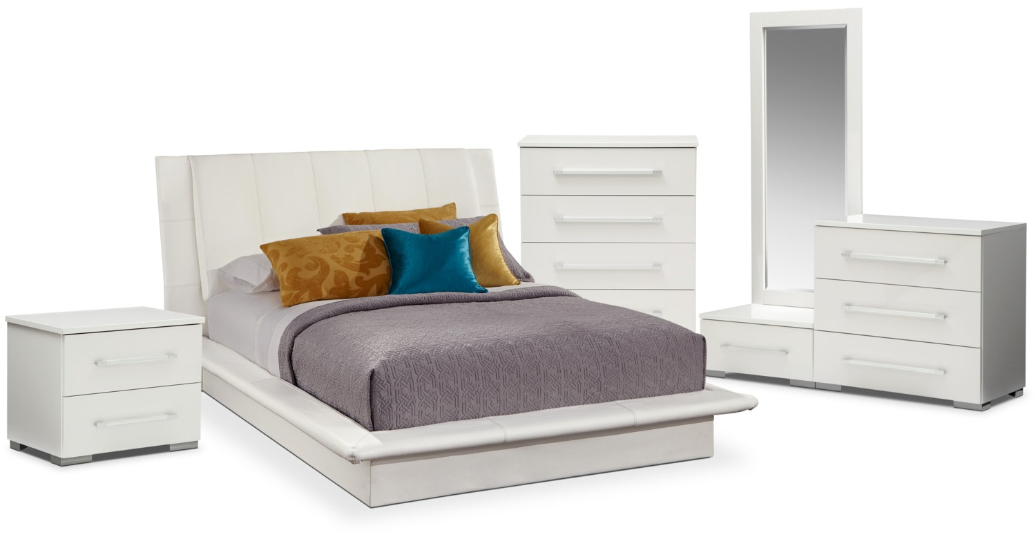 Dimora 7 Piece Queen Upholstered Bedroom Set   White By Factory Outlet