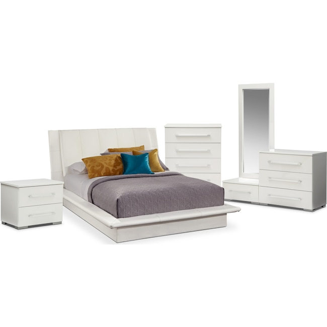 Bedroom Furniture - Dimora 7-Piece Queen Upholstered Bedroom Set - White