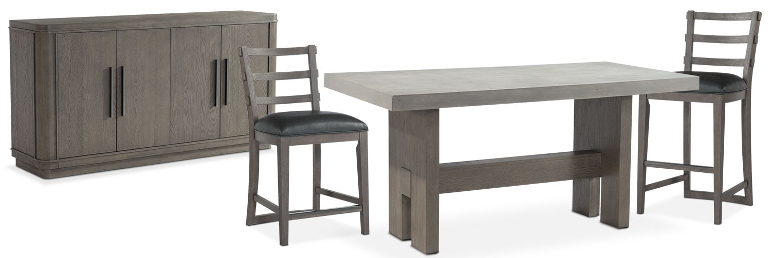 The Malibu Rectangular Counter Height Dining Collection   Gray