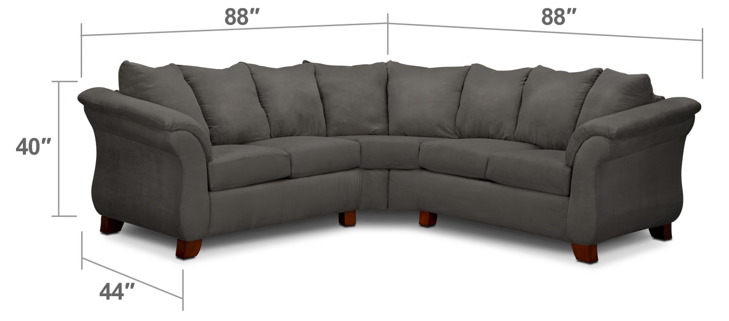 Living Room Furniture - Adrian 2-Piece Sectional - Graphite