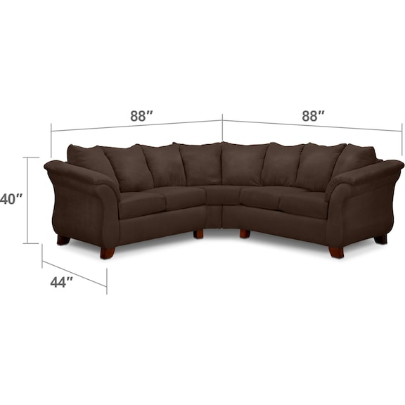Living Room Furniture - Adrian 2-Piece Sectional - Chocolate