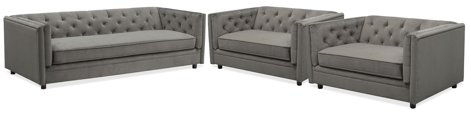 Gabe Sofa and Two Cuddler Chairs Set - Flannel