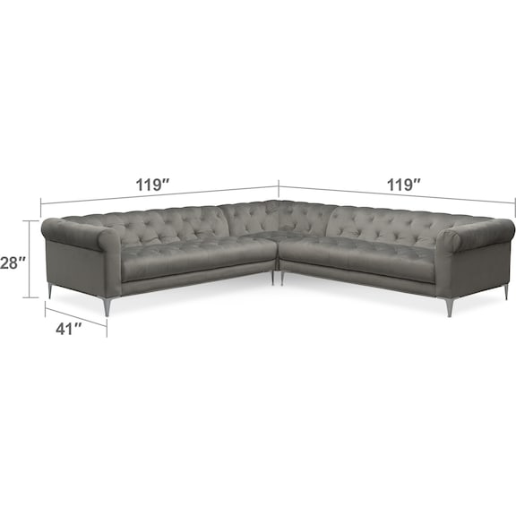Living Room Furniture - David 3-Piece Sectional - Flannel